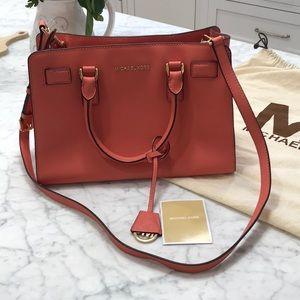 Michael Kors coral shoulder bag 100% authentic